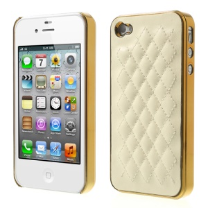 Rhombus Leather Coated Plating Plastic Hard Cover for iPhone 4S 4 - Gold / Beige
