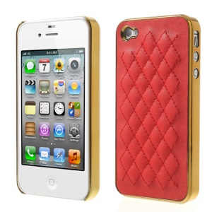 Rhombus Leather Coated for iPhone 4S 4 Plating Hard Protector Shell - Gold / Red