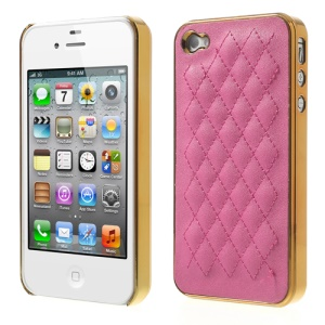 Rhombus Leather Coated for iPhone 4S 4 Plating Plastic Shield Shell - Gold / Rose
