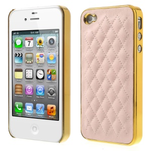 Rhombus Leather Coated for iPhone 4S 4 Plating PC Hard Shell Cover - Gold / Pink
