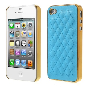 For iPhone 4S 4 Rhombus Leather Coated Plated Hard Back Cover - Gold / Sky Blue
