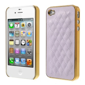 For iPhone 4S 4 Rhombus Leather Coated Plated Plastic Cover - Gold / Light Purple