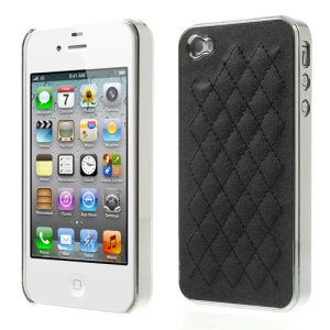 Rhombus Leather Coated Plating Hard Case for iPhone 4S 4 - Silver / Black