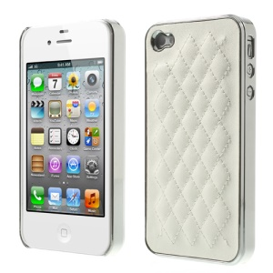 Rhombus Leather Coated Plating Hard Cover for iPhone 4S 4 - Silver / White