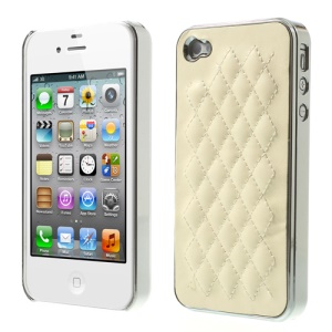 Rhombus Leather Coated Plating PC Hard Shell for iPhone 4S 4 - Silver / Beige