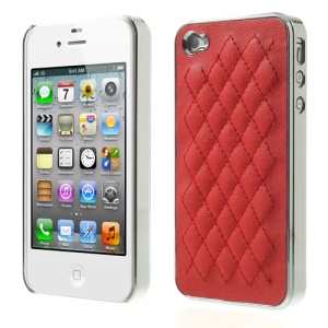 Rhombus Leather Coated Plating for iPhone 4S 4 Hard Back Case - Silver / Red