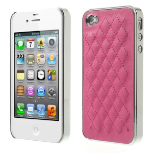 Rhombus Leather Coated Plating for iPhone 4S 4 PC Phone Shell - Silver / Rose