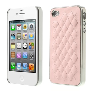 For iPhone 4S 4 Rhombus Leather Coated Plated PC Hard Case - Silver / Pink