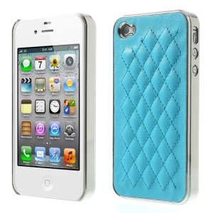 For iPhone 4S 4 Rhombus Leather Coated Plated Hard Cover - Silver / Sky Blue
