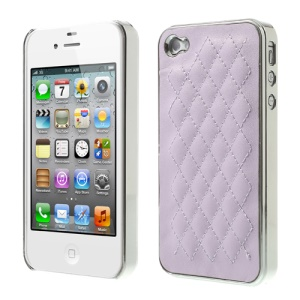 For iPhone 4S 4 Rhombus Leather Coated Plated Hard Shell - Silver / Light Purple