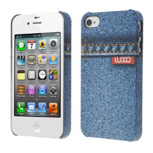 LUXO Rubberized Textured Stitching Blue Jeans Plastic Hard Case for iPhone 4 4S