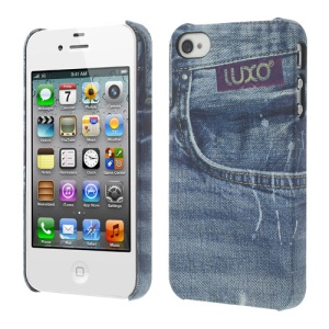 LUXO for iPhone 4 4S Rubberized Textured Retro Jeans Hard Back Case