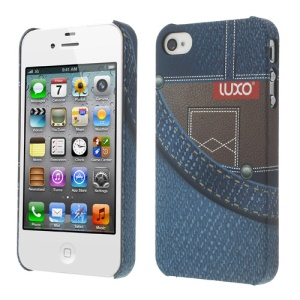 LUXO for iPhone 4 4S Rubber Coating Textured Front Pocket Denim Hard PC Case