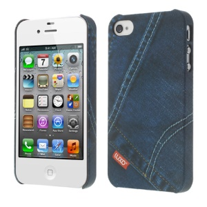 LUXO Rubber Coating Textured Dark Blue Jeans Hard Cover for iPhone 4 4S