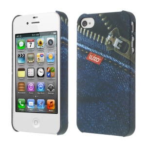 LUXO Rubber Coating Textured Diagonal Zipper Jeans Hard Shell for iPhone 4 4S