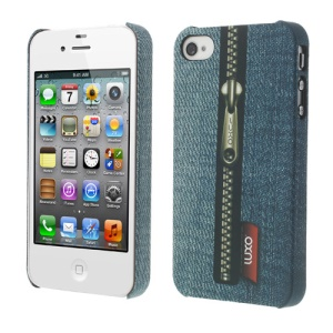LUXO Rubberized Textured Vertical Zipper Jeans Plastic Case for iPhone 4 4S