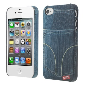 LUXO Rubberized Textured Blue Jeans Back Pocket Plastic Cover for iPhone 4 4S