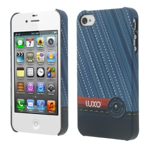 LUXO Rubberized Textured Twill Jeans for iPhone 4 4S Hard Phone Case