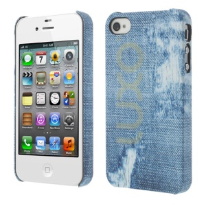 LUXO Rubber Coating Textured Patch Jeans Hard Skin Case for iPhone 4 4S
