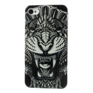 Fierce Tiger Glossy Hard Plastic Case for iPhone 4 4s