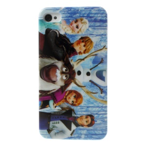 Frozen Cartoon Design Glossy Hard Back Case for iPhone 4 4s