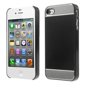 Black Brushed Aluminum Skin Electroplating Hard Case for iPhone 4 4s