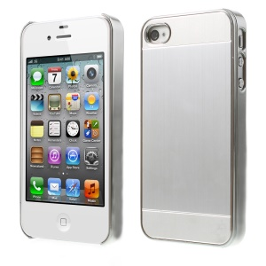 Silver Brushed Aluminum Skin Electroplating Hard Shell Case for iPhone 4 4s