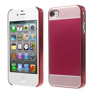 Red Brushed Aluminum Skin Electroplating Hard Case Shell for iPhone 4 4s