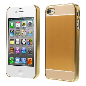 Gold Brushed Aluminum Skin Electroplating Hard Case Accessory for iPhone 4 4s