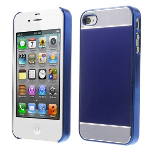 Blue Brushed Aluminum Skin Electroplating Hard Cover for iPhone 4 4s