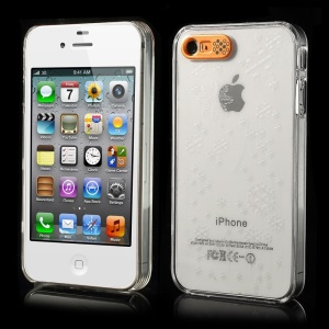 Van.D Flashing LED Light Up Snow Pattern Crystal Hard Cover for iPhone 4 4s - Gold