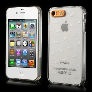 Van.D for iPhone 4 4s Plane Pattern Flashing LED Light Up Crystal PC Case - White