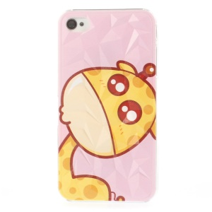 Cute Cartoon Giraffe Pattern 3D Pyramid Surface Hard Case for iPhone 4 4s