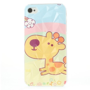Lovely Happy Giraffe 3D Pyramid Design Hard Case for iPhone 4 4s