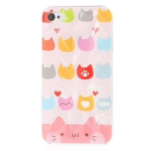 For iPhone 4 4s 3D Pyramid Design Hard Cover Adorable Cat Heads Pattern
