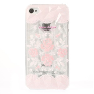 Femme De Pivot Elegant Lace & Flower 3D Pyramid Design Hard Cover for iPhone 4 4s