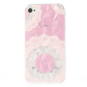 For iPhone 4 4s 3D Pyramid Design PC Back Case Flower Blossom Pattern