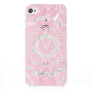 For iPhone 4 4s Pink Bowknot Flower 3D Pyramid Design Plastic Case