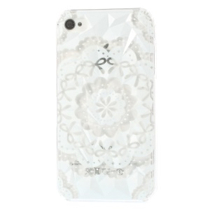 For iPhone 4 4s White Bowknot Flower 3D Pyramid Design Protective Hard Cover