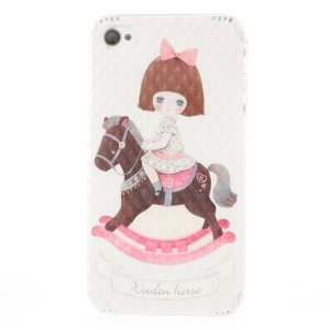 Girl on Wooden Horse Pattern Small Pyramid Hard PC Case for iPhone 4 4s