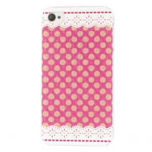 Elegant Polka Dots Stereo Small Pyramid Surface Hard Case for iPhone 4 4s