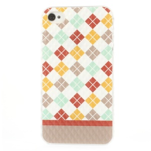 For iPhone 4 4s Colorful Checker Small Pyramid Design Plastic Back Case