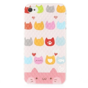 For iPhone 4 4s Small Pyramid Design Plastic Cover Lovely Cat Heads Pattern