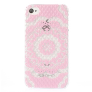 For iPhone 4 4s Small Pyramid Design Plastic Shell Pink Bowknot Flower Pattern