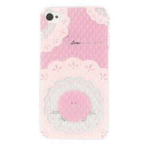 For iPhone 4 4s Small Pyramid Design Hard Shell Beautiful Flowers Pattern