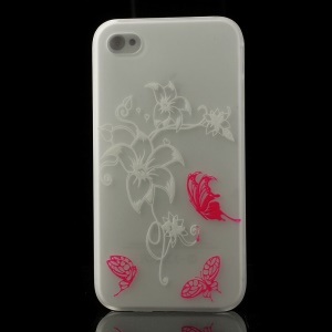Butterflies & Flowers Pattern for iPhone 4S 4 Noctilucent Matte Hard Case