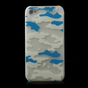 White & Blue Camouflage Pattern for iPhone 4S 4 Noctilucent Matte Hard Case
