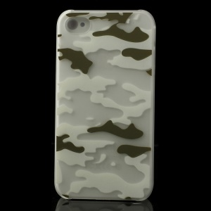 White & Green Camouflage Pattern for iPhone 4S 4 Noctilucent Matte PC Shell