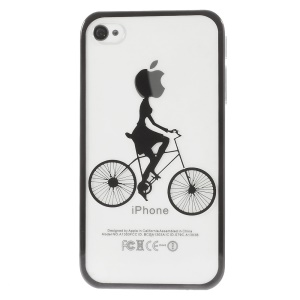 Riding Bicycle Electroplated Edges Clear Back Plastic Cover for iPhone 4s 4 - Black