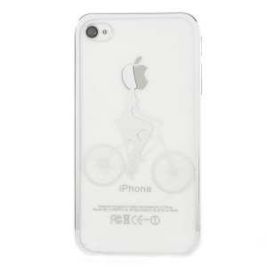 Riding Bicycle Electroplating Edges Clear Back Plastic Case for iPhone 4s 4 - Silver